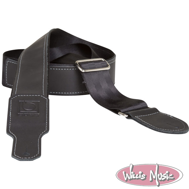 Boss 2in Black Seatbelt With Black Leather Hybrid Guitar Strap