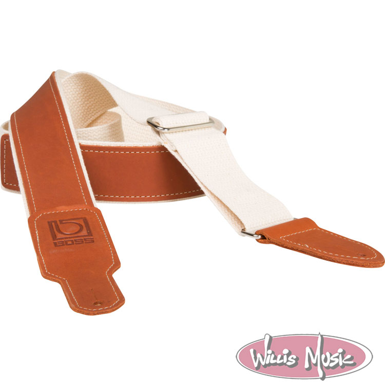 Boss 2in Natural Cotton With Brown Leather Hybrid Guitar Strap