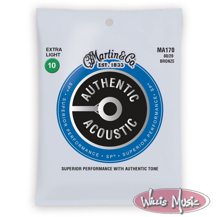 Martin Authentic Acoustic 80/20 Bronze Guitar Strings Extra Light 10 - 47