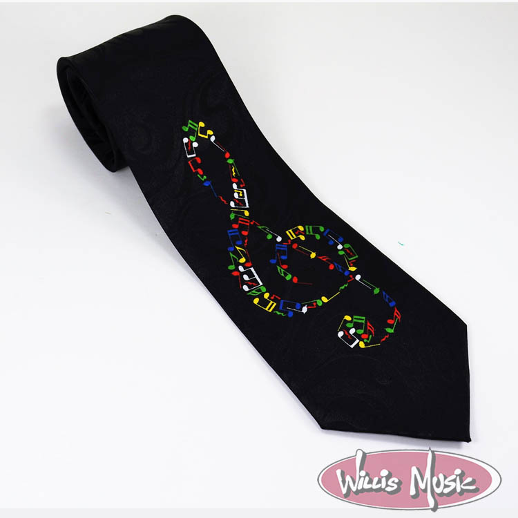 The Music Gifts Tie- Rainbow Notes Treble Clef