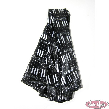 The Music Gifts Scarf- Black w/ White Piano Keys
