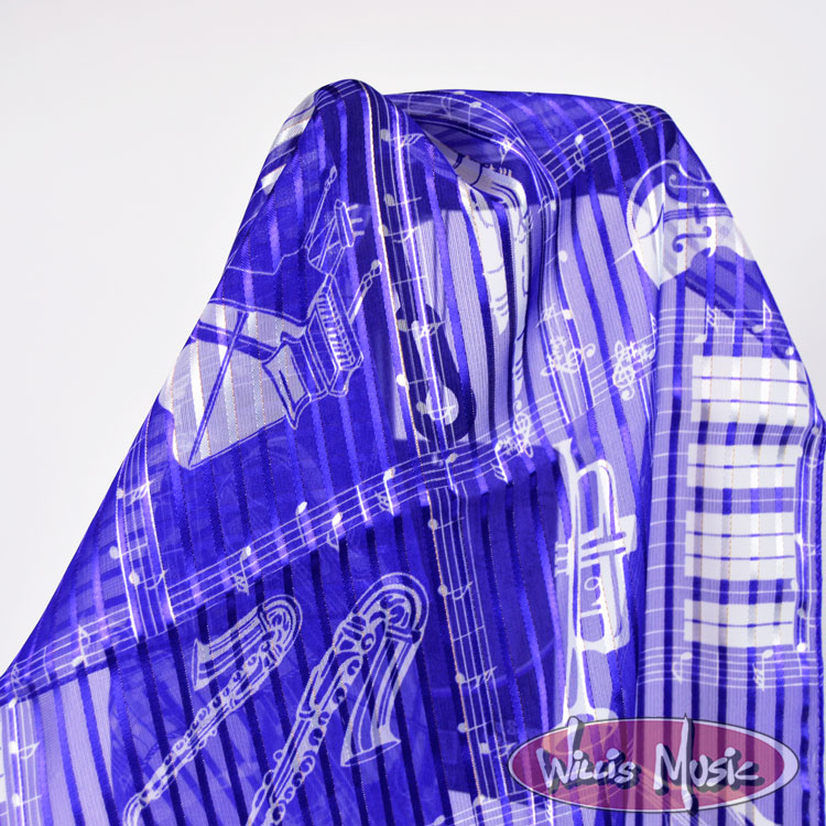 The Music Gifts Scarf- Purple w/ White Instruments