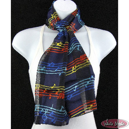 The Music Gifts Scarf- Navy w/ Rainbow Music Notes