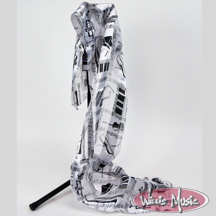 The Music Gifts Scarf- White w/ Black Instruments
