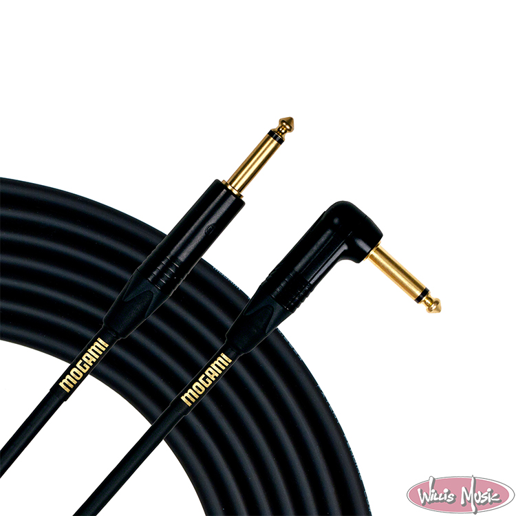 Mogami Gold Instrument 18' Cable With One Right Angle End And One Straight End
