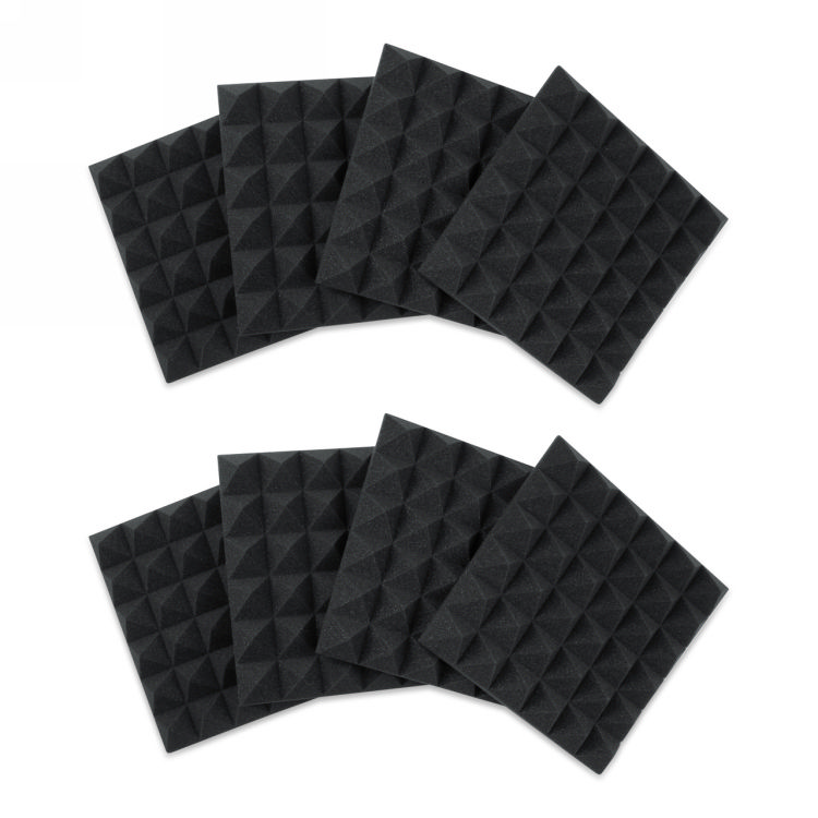Gator 8 Pack of  Charcoal 12x12in Acoustic Pyramid Panel