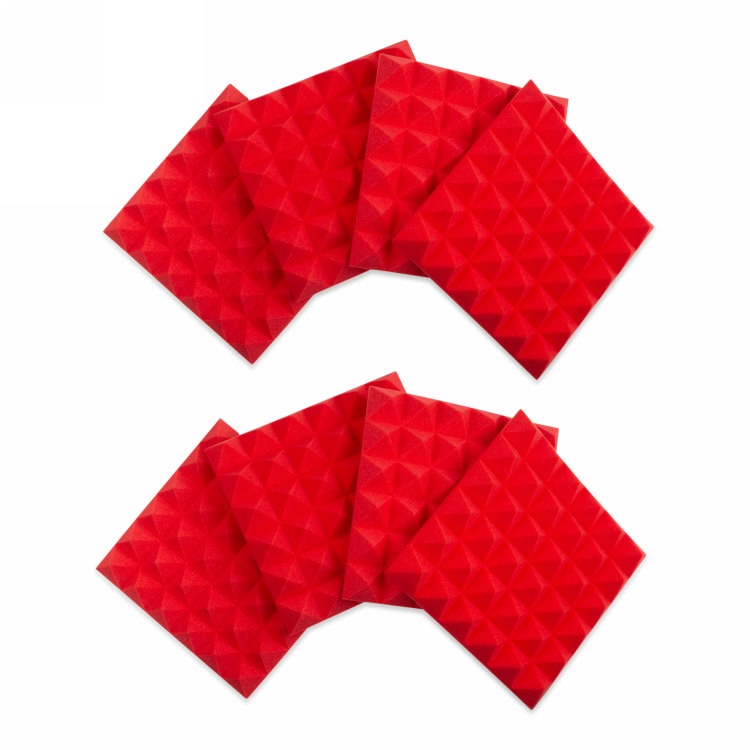 Gator 8 Pack of  Red 12x12in Acoustic Pyramid Panel