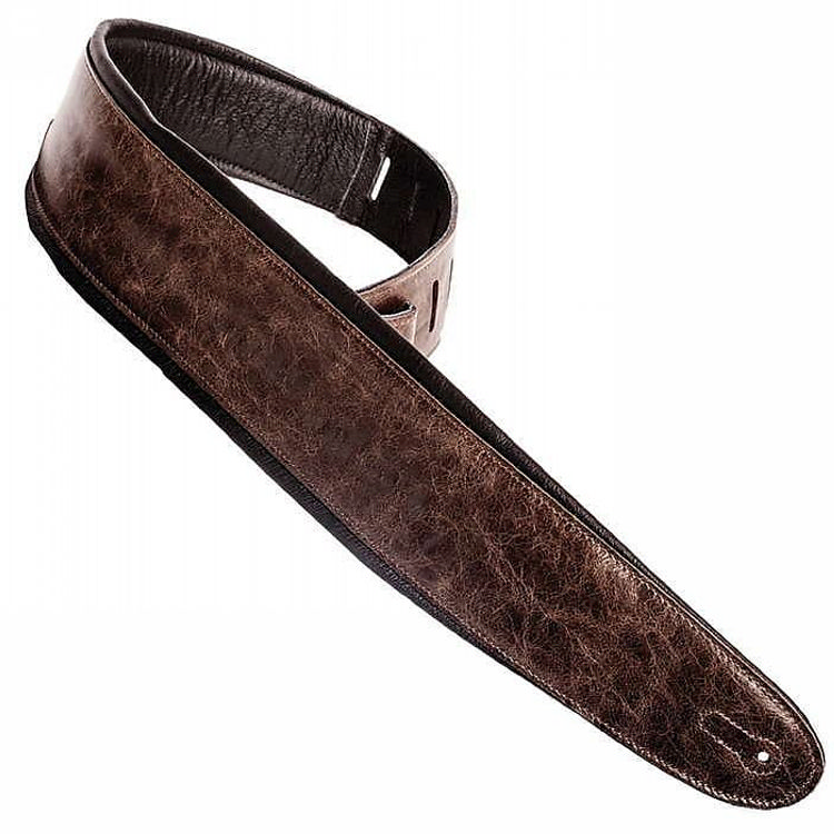 Henry Heller 3.5in Padded Luxe Soft Glove Capri Leather Guitar Strap Vintage Brown