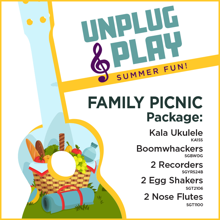 Unplug & Play Summer Fun! Neighborhood Package: Yamaha Acoustic Guitar, Cajon, Harmonica Pack, Acoustic Base, The Beatles Complete Chord Songbook (Copy)